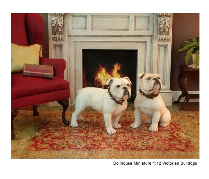Victorian Bulldog sculptures set in a dollhouse miniature vignette. Clay & fiber sculptures by Kerri Pajutee