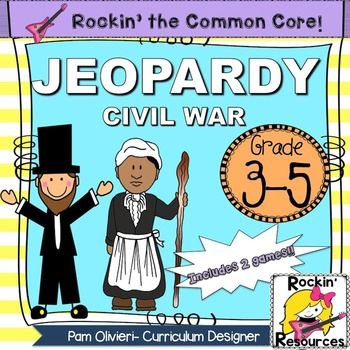 Civil War Review Jeopardy... U.S. History3rd, 4th, 5th, 6th, 7th PowerPoint Presentations, Activboard Activities...There are two games to play as well as two final jeopardy questions all related to the Civil War. The questions go along with the study guide and test I have in my store.
