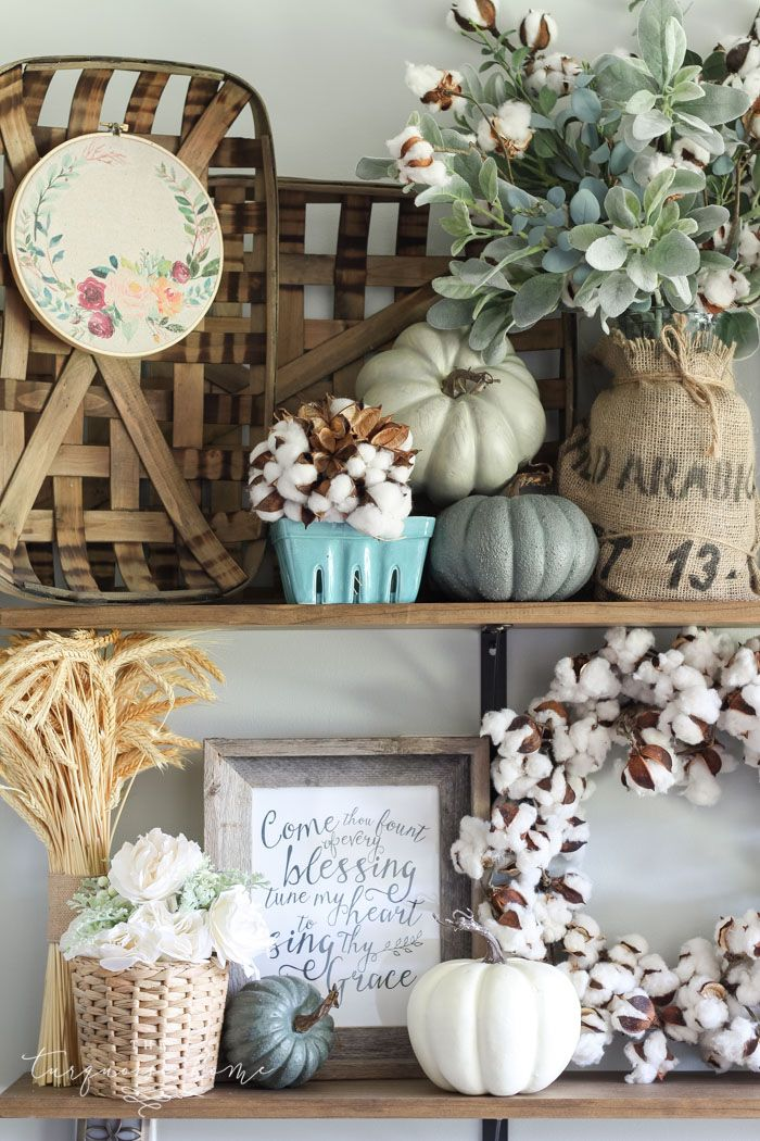 LOVE that embroidery hoop art! Adorable Fall farmhouse shelves in the kitchen ...