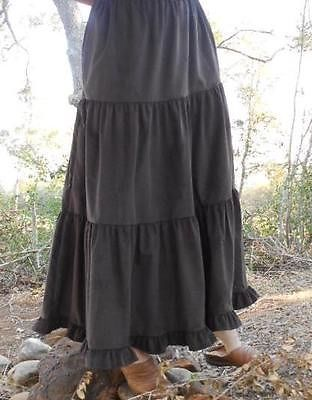 Ladies-Plus-long-full-tiered-skirt-brown-corduroy-S-M-L-XL-1X-2X-3X-w-Ruffle