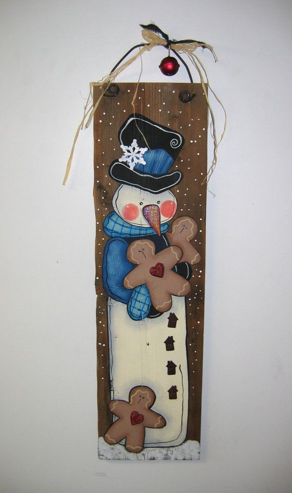 Snowman with Gingerbread Cookies Tole Painted by barbsheartstrokes, $38.00