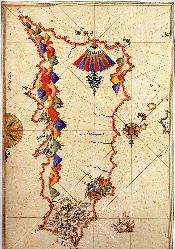 Map of Rhodes by Piri Reis