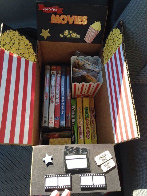 Movie Care Package website has college care packages, but I never thought about decorating the inside of the box