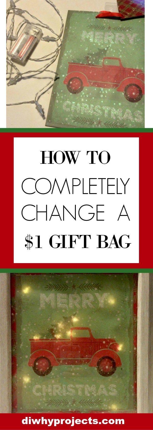 Change $1 Christmas Bag to Light Up Sign.  Totally easy to make, and budget friendly too!  Christmas Craft, Christmas Decor DIY