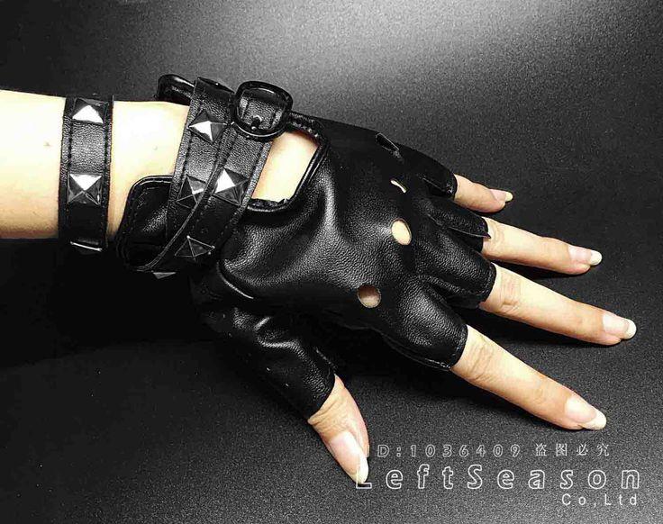 Mulheres de Couro Do Punk Rock Rivet Studs Motociclista luvas Metade do Dedo Luvas Sem Dedos De Condução em Luvas & Mittens de Das mulheres Roupas & Acessórios no AliExpress.com   Alibaba Group