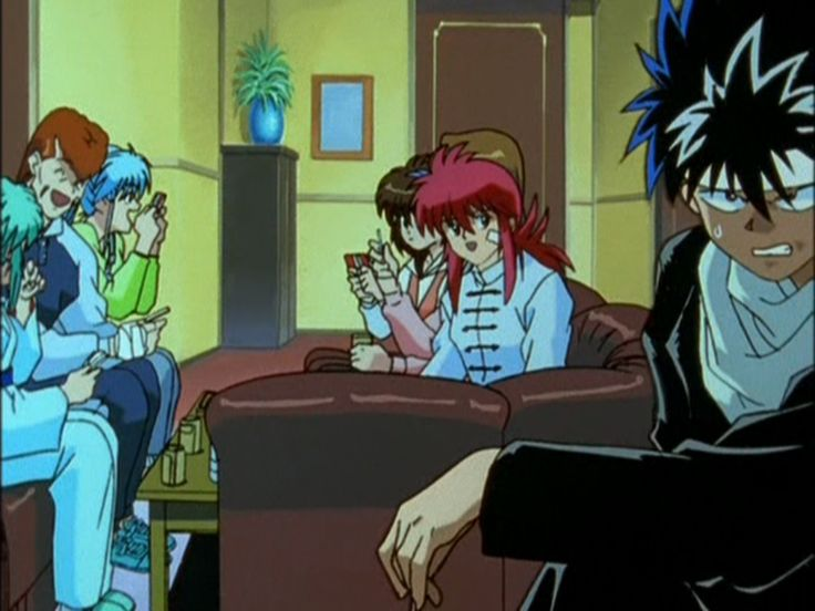 Kurama: Come, join us Hiei. We are practically like family!  Hiei: Kurama! Don't make me pull out your precious voice box!