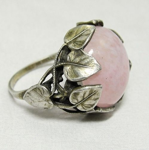 Antique Art Nouveau Ring Rose Quartz Crystal Sterling Silver Leaves: