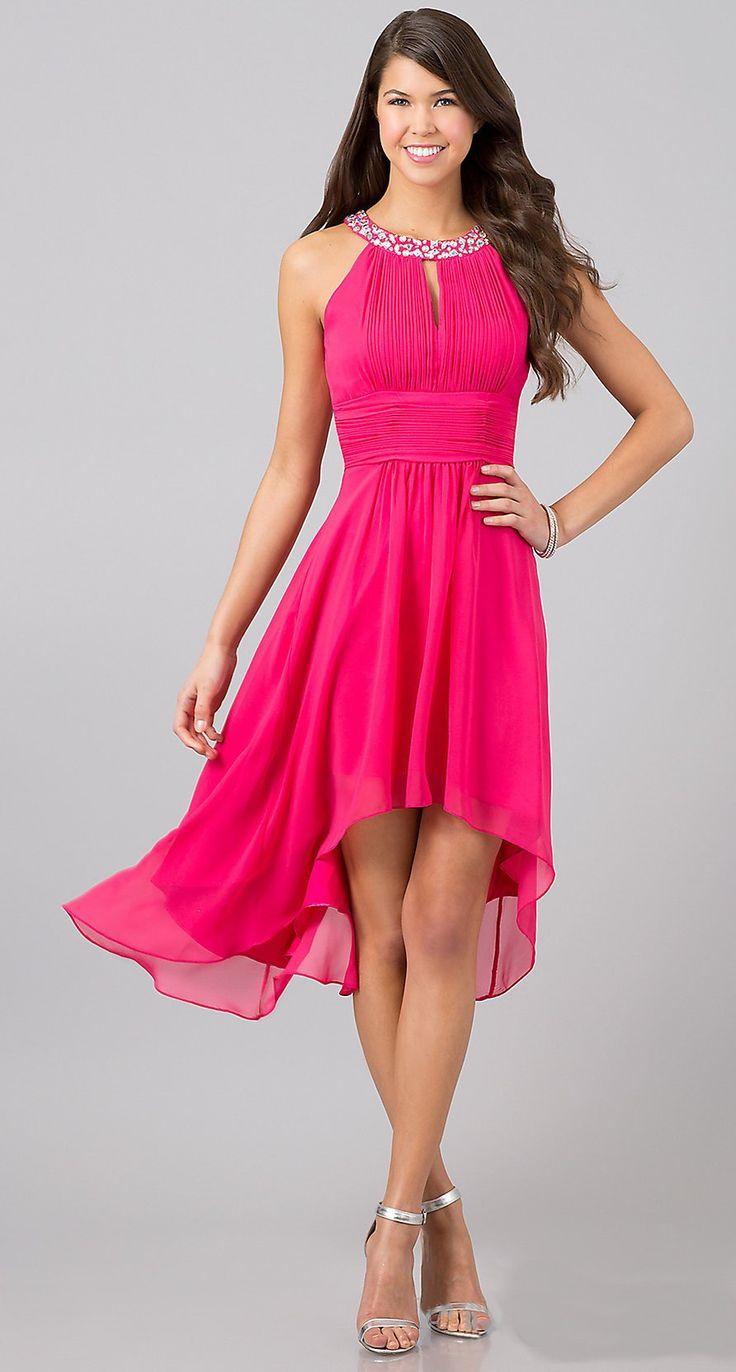 Blue high low semi formal dresses