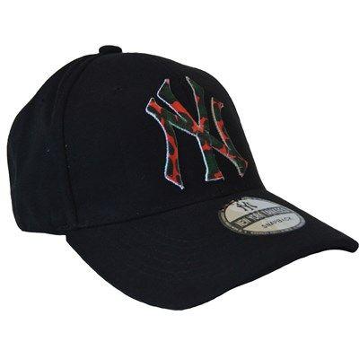 Erkek NY Kep Şapka Kamuflaj Nakışlı Siyah