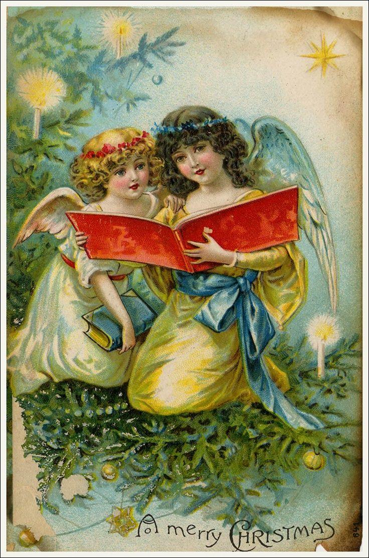 Ретро открытки с ангелочками, открытки днем