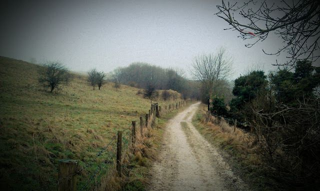 Winter scene - looking west along the Roman Road at Morgan's Hill, Wiltshire