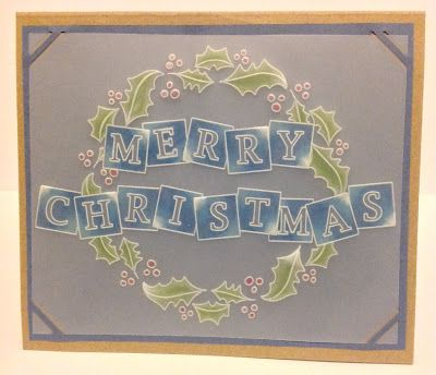 Christmas card made using Clarity Stamp Groovi Plate and Spectrum Noir pencils