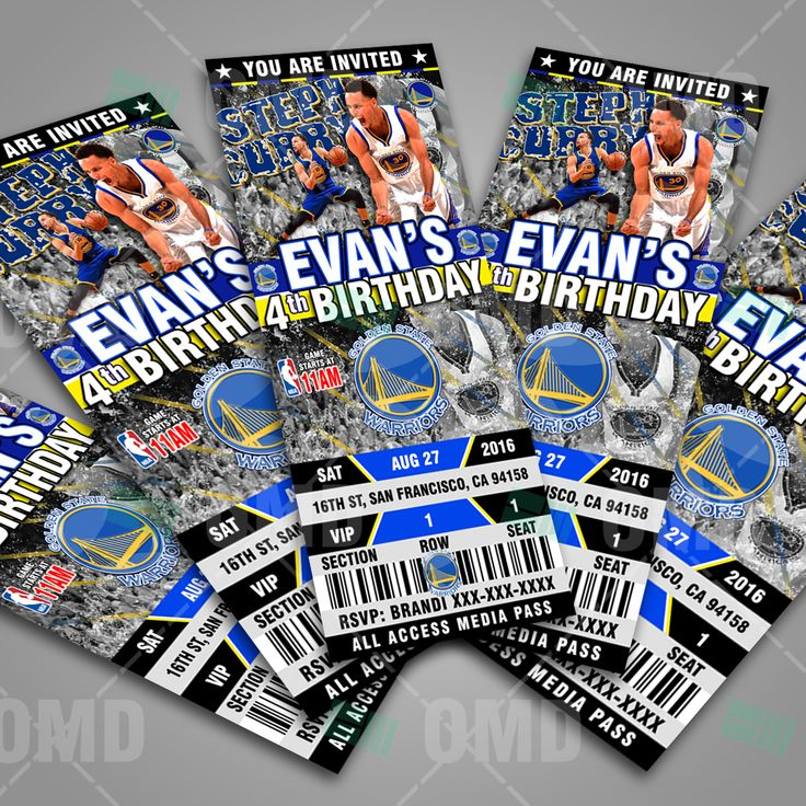 Graphic Golden State Warriors Ticket Style Party Invites #sportsinvites