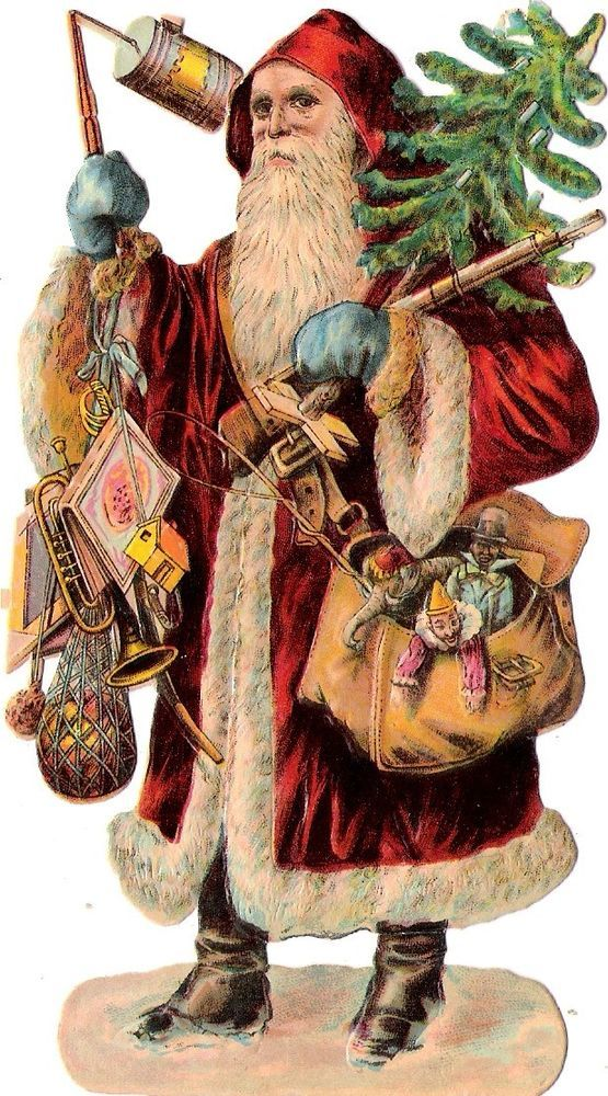 Oblaten Glanzbild scrap die cut chromo Nikolaus santa father XMAS pere noel doll: