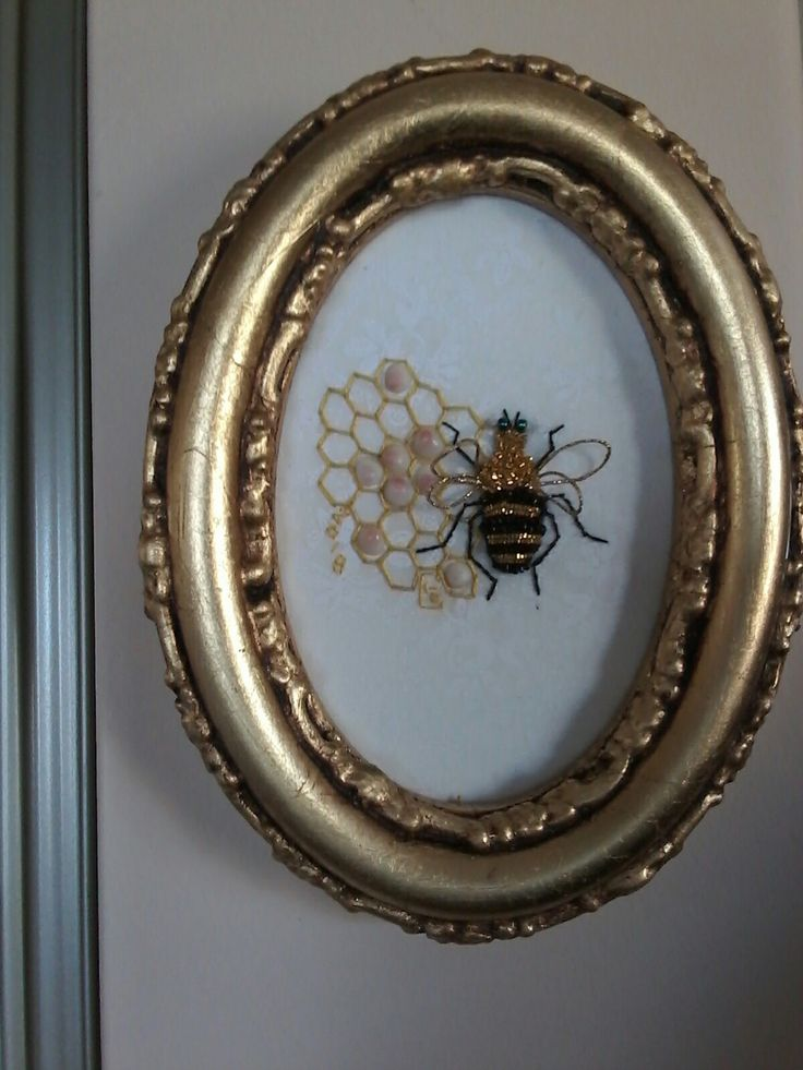 Goldwork been sitting on a gold honey cone. I used antique shells   (my mother had a a young girl as the larvae.