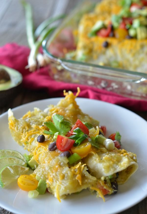Avocado Enchiladas with Black Beans and Bell Pepper. Vegetarian and an ...
