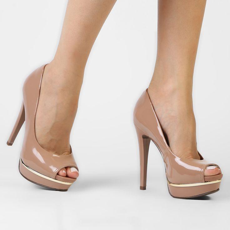 Peep Toe Crysalis Meia Pata Nude | Zattini - A nova loja de moda online da Netshoes