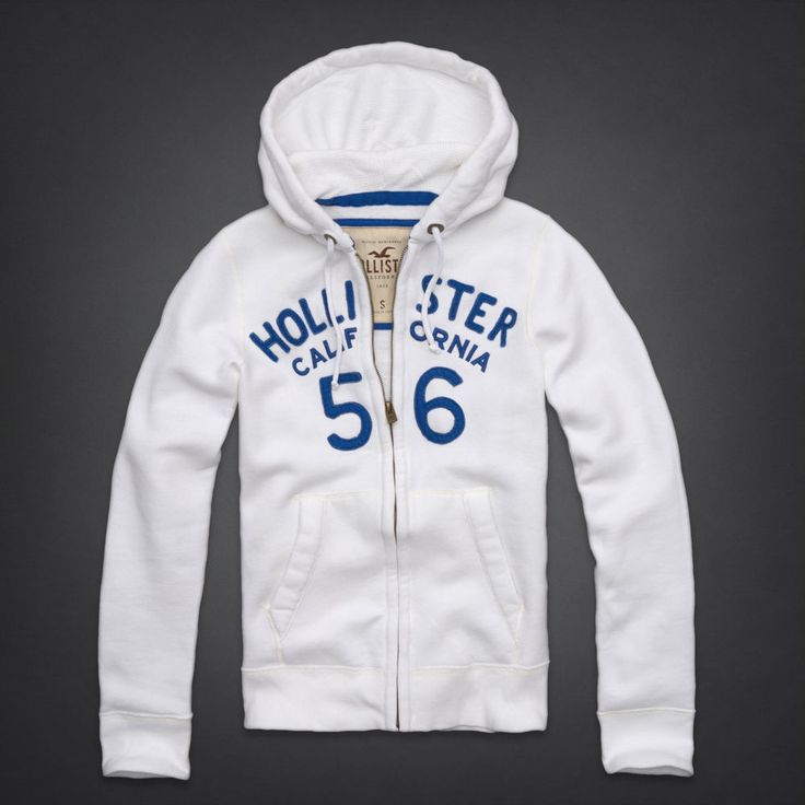 HOLLISTER White Zip-UP Hoodie Jacket Men's Small S NeW San Onofre Sweatshirt $49.99  #Hollister #HollisterHoodie #MensHoodie #MensJacket