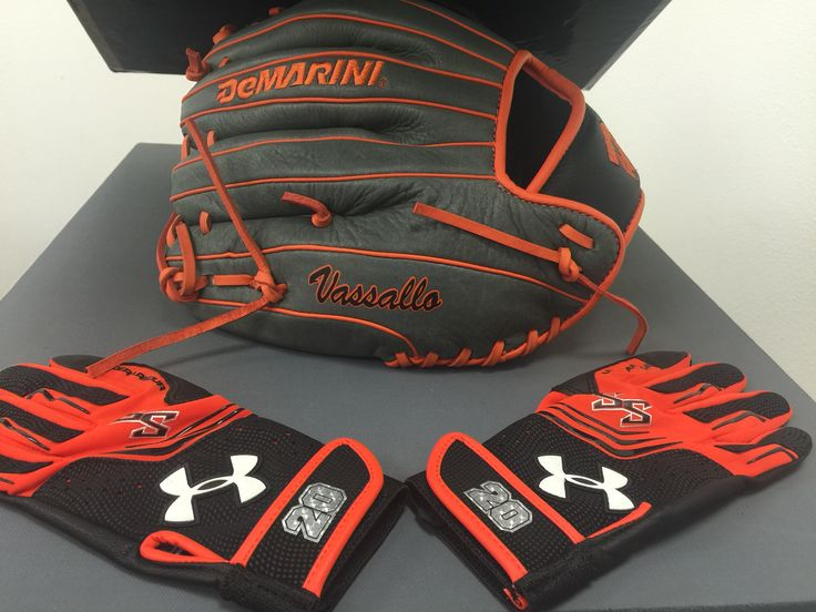 Custom Baseball Glove And Batting Gloves Completed With A