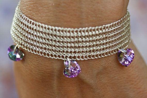 Silver wire handmade crochet bracelet with Swarovski by KvinTal, $37.00