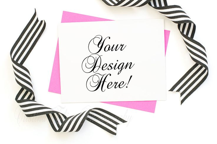 envelope mockup | Hot pink A2 envelope | blank card mockup | B&W ribbon | White background | for card designs | Etsy Shop Mock-up Download by CristinaElisaImages on Etsy https://www.etsy.com/listing/268866102/envelope-mockup-hot-pink-a2-envelope