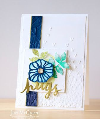 Hugs card featuring Stampin Up's Oh So Eclectic and Lovely Inside and Out by Jan McQueen. More info @ www.janscreativecorner.blogspot.com