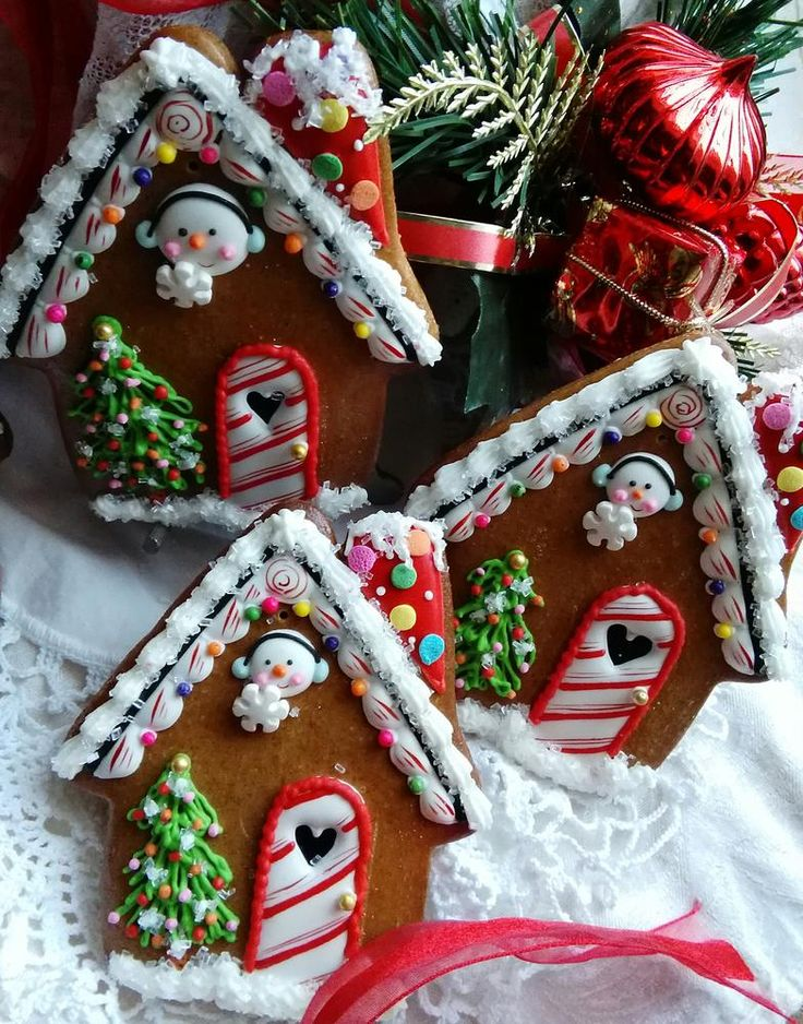 Candy cane lane GB house ornaments by Teri Pringle Wood, posted on Cookie Connection