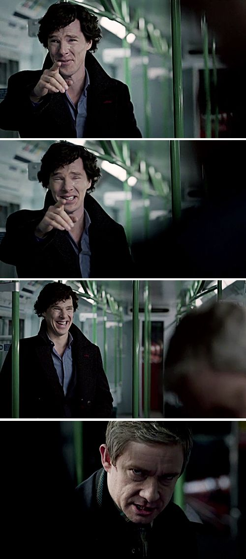 """Sherlock's all """"You should've totally seen your face!"""" and John's all """"You should totally see my face now do I look like I'm laughing?"""""""