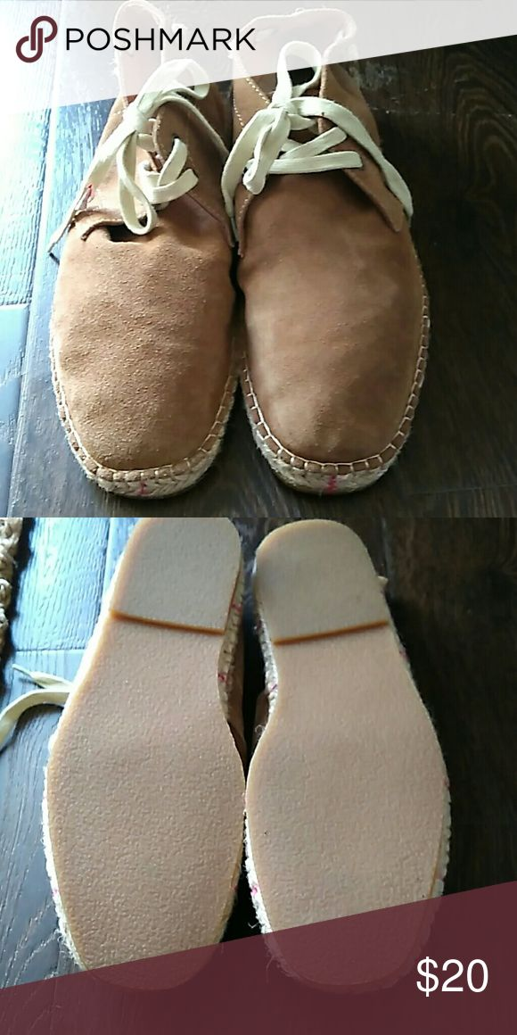 New Aldo suede chukka boots. Tan, 2 eyelets with extra grip soles W.  weave burlap accents. Aldo Shoes Chukka Boots