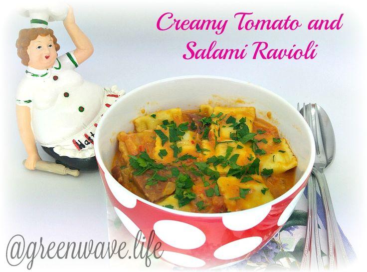 Creamy Tomato and Salami Ravioli