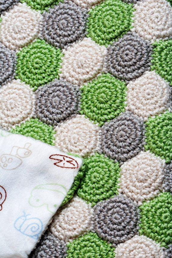 Crochet Pattern Unisex Reversible Baby Blanket by SweetCrocheterie. Pattern available.