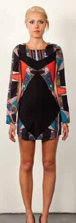 Three of Something Ballroom spliced dress. Features long spliced sleeve. Love the print! $150
