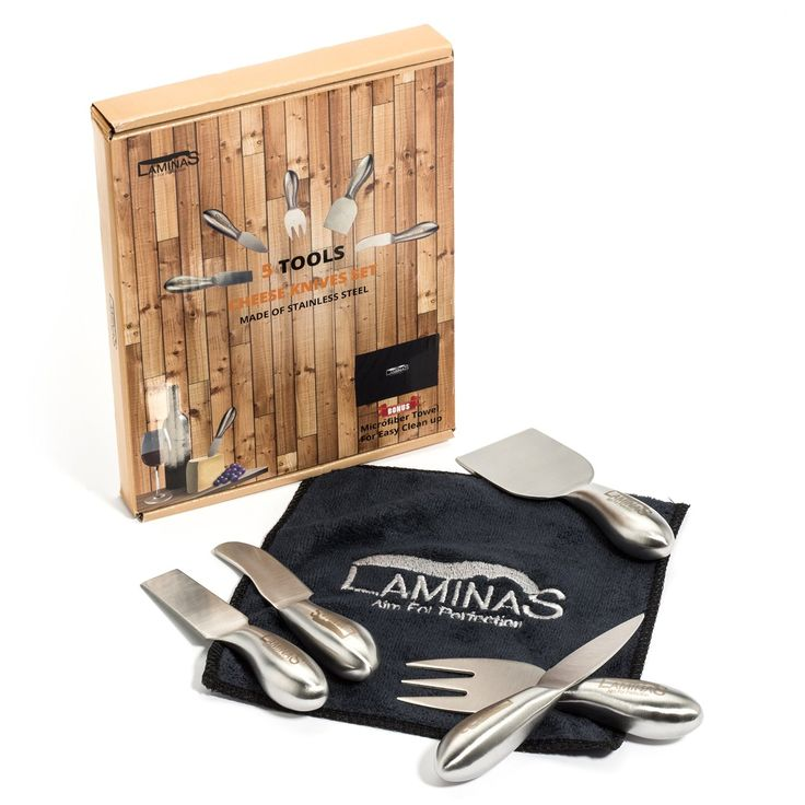 Amazon.com: Cheese Knives Set 5-Piece Stainless Steel tools with Microfiber Cleaning Cloth in a Housewarming Gift Box, Exquisitely Designed Cheese Knife to Hold, Cut, Shave, Slice, Spread, Serve All Types Of Cheeses: Kitchen & Dining