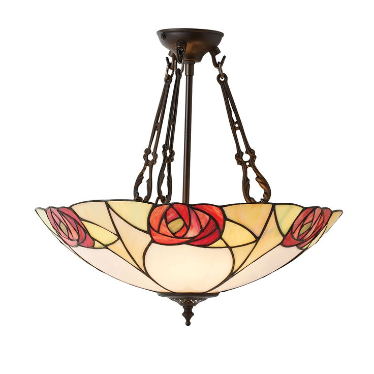 Ingram 64183 Tiffany Large Inverted 3 Light Pendant Style Glass Bronze Paint Effect The Collection Features A Macintosh Art