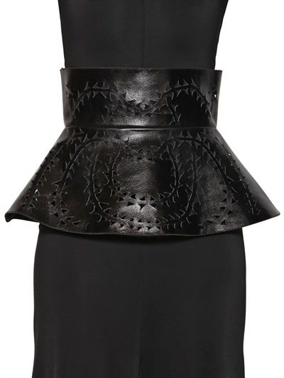 MURMUR - LASER CUT PATENT LEATHER PEPLUM BELT - LUISAVIAROMA - LUXURY SHOPPING WORLDWIDE SHIPPING - FLORENCE
