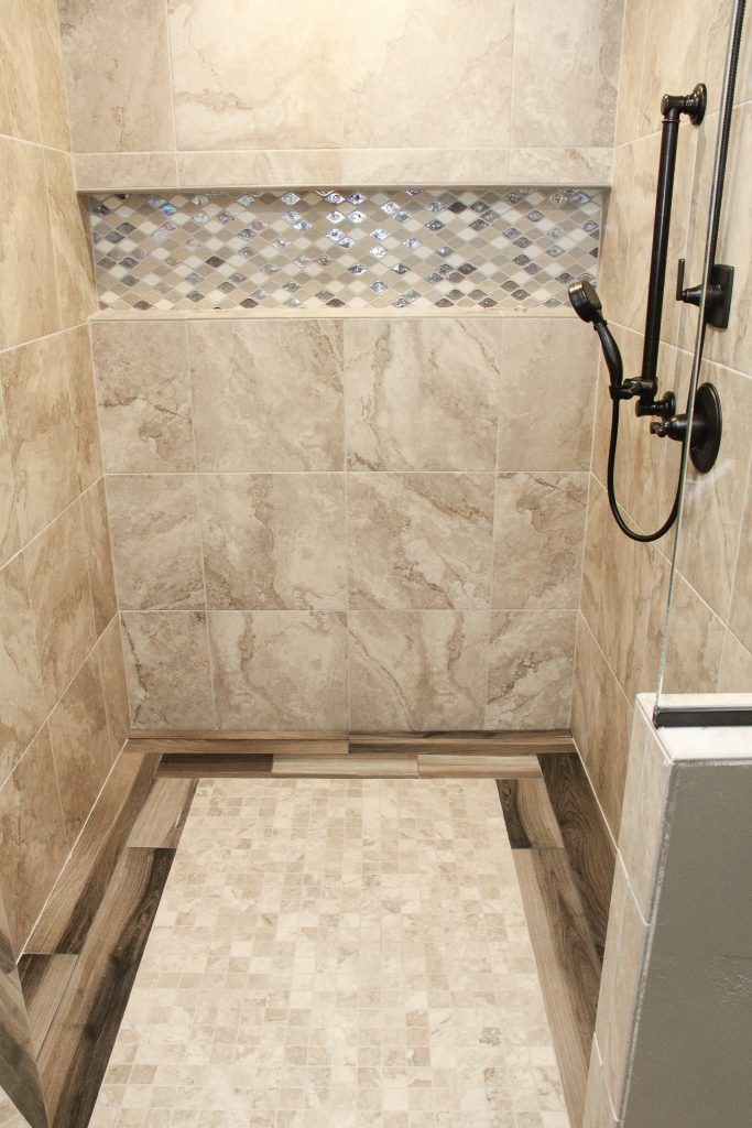 Beige Marble Tile Walls And Floor Beige And Silver Wall Accent Wood Tile Floor Accent Mosaic Bathroom Tile Beige Marble Tile Tile Floor