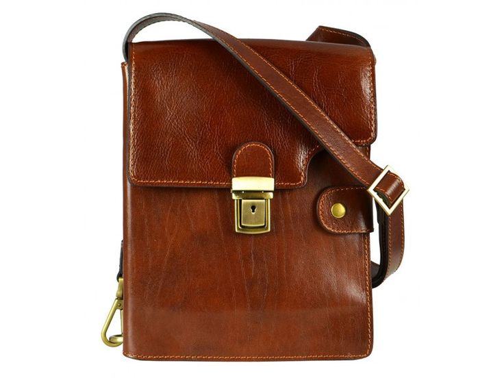 Brown Leather Messenger Bag for Men and Women - Cloud Atlas