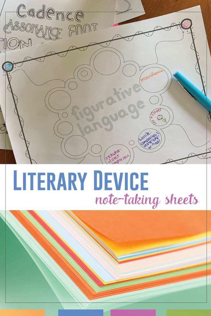 Literary Device Coloring Sheet Middle School Language Art Lesson High English Plan Classroom Term Definition For Paraphrase