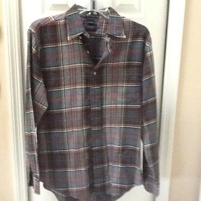 Viyella hunter's plaid mens large Kenneth Gordon long sleeve button front shirt | eBay