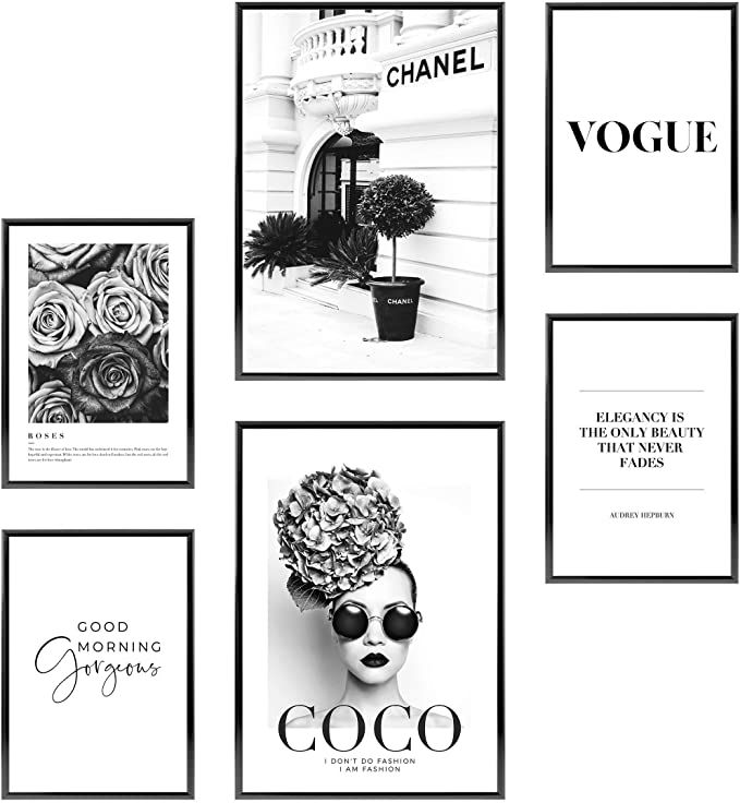 Amazon Com Heimlich Premium Set Of Posters Stylish Photo And Quote Prints Fashion Wall Decor Glam Wall In 2020 Glam Wall Decor Fashion Wall Decor Wall Art Plaques