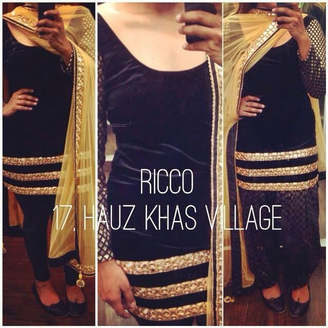 Black shirt suit with churidar. Can also be made into a patiala suit with salwar. For orders/details/customisation contact us on +918800511005. Find more of our collection on www.facebook.com/riccoindia or @riccoindia on Instagram
