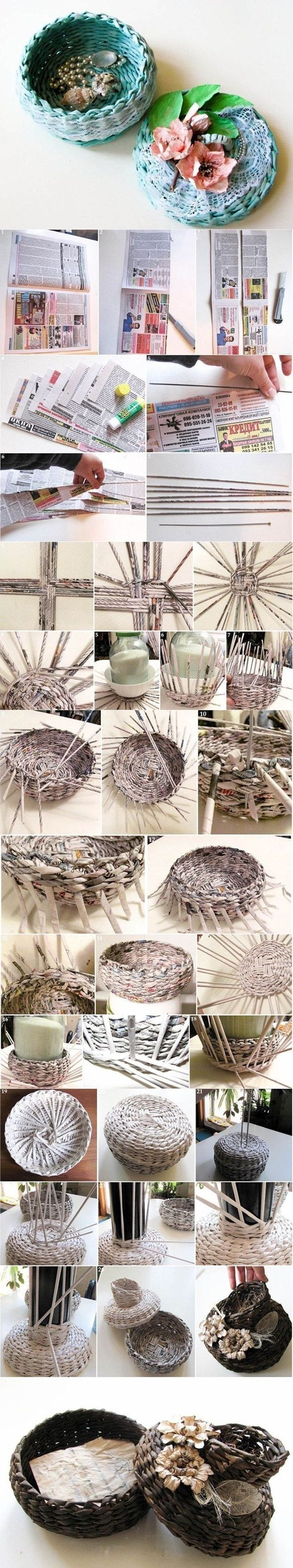 DIY Covered Woven Basket from Newspape