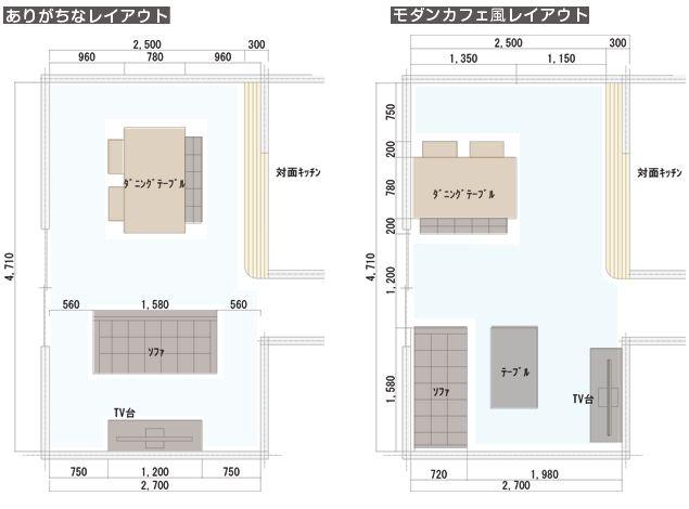 シンプルモダンデザインのソファ&ダイニングセットを置いたリビング&ダイニングの平面図