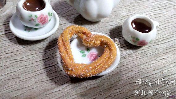 Heart Churro Charm Miniature Food Jewelry by AndisaCharmsShop