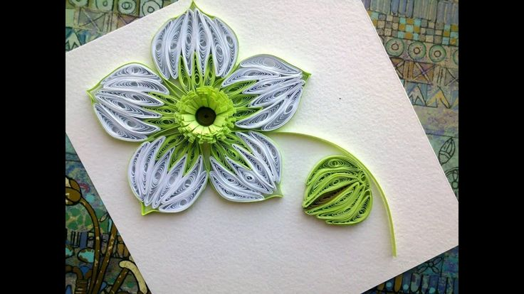 Quilling Flowers Tutorial: make a beautiful green Quilling flower. Paper...
