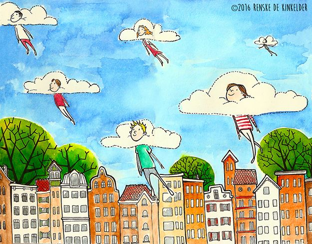 Sketchbook spread with your head in the clouds...Illustration watercolour and ink. Renske de Kinkelder