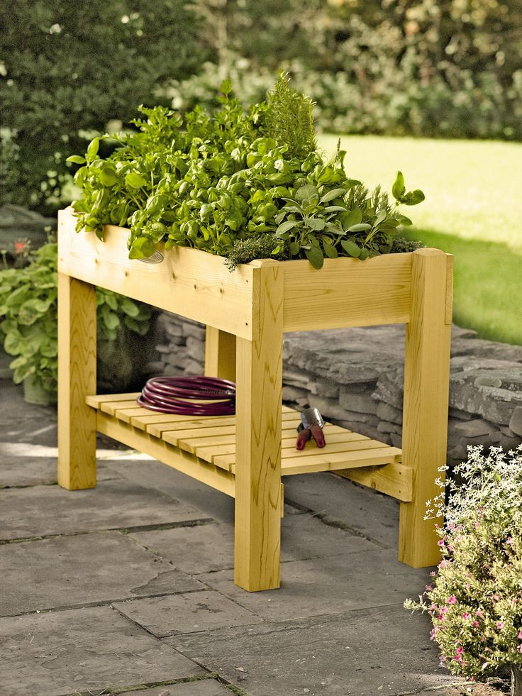 "Cedar Grow Table | Elevated Raised Bed | Made in Vermont $269 Cedar 50"" L x 23-1/4"" W x 33"" H Holds 86 quarts of planting mix"
