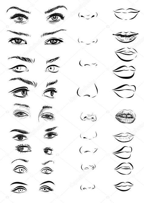 Descargar – Juego de ojos de mujer, labios, cejas y narices como negro dibujar e…