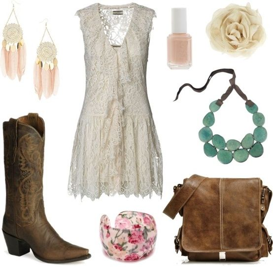 """Country Summer""... love the boots, dress, and necklace so me...."