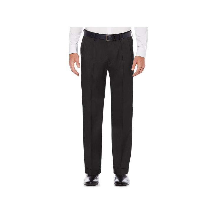 Men's Savane Straight-Fit Stretch Crosshatch Pleated Dress Pants, Size: 42X32, Grey (Charcoal)